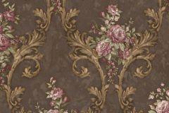 4908 cikkszámú tapéta.Barokk-klasszikus,természeti mintás,textil hatású,virágmintás,arany,barna,fehér,pink-rózsaszín,súrolható,vlies tapéta