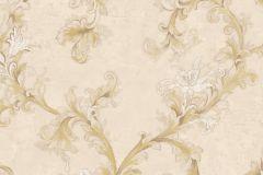 4912 cikkszámú tapéta.Barokk-klasszikus,természeti mintás,textil hatású,virágmintás,arany,bézs-drapp,fehér,súrolható,vlies tapéta