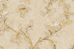 4913 cikkszámú tapéta.Barokk-klasszikus,virágmintás,arany,barna,bézs-drapp,súrolható,vlies tapéta