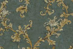 4915 cikkszámú tapéta.Barokk-klasszikus,természeti mintás,textil hatású,virágmintás,arany,barna,zöld,súrolható,vlies tapéta
