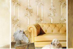4922 cikkszámú tapéta.Barokk-klasszikus,csíkos,természeti mintás,textil hatású,virágmintás,arany,bézs-drapp,fehér,súrolható,vlies tapéta