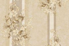 4923 cikkszámú tapéta.Barokk-klasszikus,csíkos,természeti mintás,textil hatású,virágmintás,arany,barna,bézs-drapp,súrolható,vlies tapéta