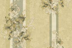 4925 cikkszámú tapéta.Barokk-klasszikus,csíkos,természeti mintás,textil hatású,virágmintás,arany,bézs-drapp,zöld,súrolható,vlies tapéta