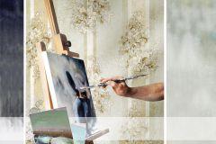 4926 cikkszámú tapéta.Barokk-klasszikus,csíkos,természeti mintás,textil hatású,virágmintás,arany,ezüst,fehér,szürke,súrolható,vlies tapéta