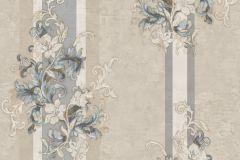 4929 cikkszámú tapéta.Barokk-klasszikus,csíkos,természeti mintás,virágmintás,bézs-drapp,fehér,kék,szürke,súrolható,vlies tapéta