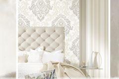 4930 cikkszámú tapéta.Barokk-klasszikus,különleges motívumos,textil hatású,barna,bézs-drapp,fehér,súrolható,vlies tapéta