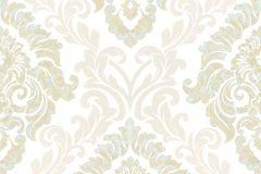 4935 cikkszámú tapéta.Barokk-klasszikus,különleges motívumos,textil hatású,arany,barna,bézs-drapp,fehér,vajszín,súrolható,vlies tapéta