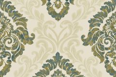 4936 cikkszámú tapéta.Barokk-klasszikus,különleges motívumos,textil hatású,arany,bézs-drapp,zöld,súrolható,vlies tapéta