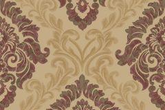 4938 cikkszámú tapéta.Barokk-klasszikus,különleges motívumos,textil hatású,arany,bézs-drapp,piros-bordó,súrolható,vlies tapéta