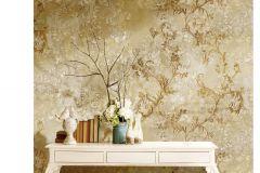 6703 cikkszámú tapéta.Barokk-klasszikus,különleges motívumos,textil hatású,virágmintás,arany,bézs-drapp,vajszín,súrolható,vlies tapéta