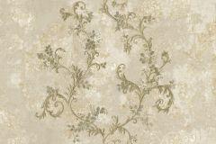 6705 cikkszámú tapéta.Virágmintás,barokk-klasszikus,különleges felületű,különleges motívumos,textil hatású,bézs-drapp,vajszín,zöld,súrolható,vlies tapéta