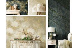 6707 cikkszámú tapéta.Barokk-klasszikus,különleges felületű,különleges motívumos,textil hatású,virágmintás,arany,kék,vajszín,zöld,súrolható,vlies tapéta