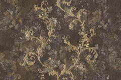6709 cikkszámú tapéta.Barokk-klasszikus,különleges felületű,különleges motívumos,textil hatású,virágmintás,arany,barna,vajszín,súrolható,vlies tapéta