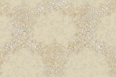 6721 cikkszámú tapéta.Barokk-klasszikus,különleges felületű,különleges motívumos,textil hatású,virágmintás,bézs-drapp,fehér,vajszín,súrolható,vlies tapéta