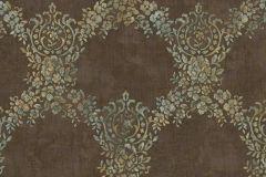 6728 cikkszámú tapéta.Barokk-klasszikus,különleges felületű,különleges motívumos,textil hatású,virágmintás,barna,ezüst,kék,zöld,súrolható,vlies tapéta