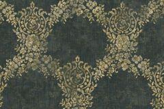 6729 cikkszámú tapéta.Barokk-klasszikus,különleges felületű,különleges motívumos,textil hatású,virágmintás,arany,zöld,súrolható,vlies tapéta