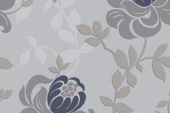 2107 cikkszámú tapéta.Barokk-klasszikus,virágmintás,ezüst,kék,szürke,gyengén mosható,vlies tapéta