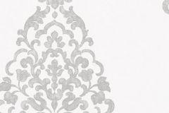 2111 cikkszámú tapéta.Barokk-klasszikus,ezüst,fehér,gyengén mosható,vlies tapéta