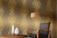 2118 cikkszámú tapéta.Barokk-klasszikus,arany,barna,gyengén mosható,vlies tapéta