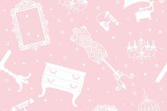 2201 cikkszámú tapéta.Barokk-klasszikus,különleges motívumos,retro,fehér,pink-rózsaszín,gyengén mosható,vlies tapéta