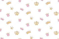2204 cikkszámú tapéta.Gyerek,különleges motívumos,rajzolt,arany,fehér,pink-rózsaszín,gyengén mosható,vlies tapéta