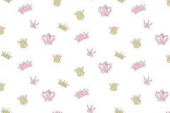 2205 cikkszámú tapéta.Absztrakt,gyerek,különleges motívumos,rajzolt,arany,fehér,pink-rózsaszín,gyengén mosható,vlies tapéta