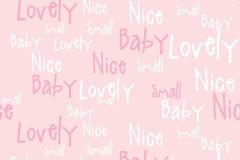 2208 cikkszámú tapéta.Gyerek,különleges motívumos,rajzolt,retro,fehér,pink-rózsaszín,gyengén mosható,vlies tapéta