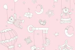 2234 cikkszámú tapéta.Gyerek,különleges motívumos,rajzolt,fehér,pink-rózsaszín,gyengén mosható,vlies tapéta