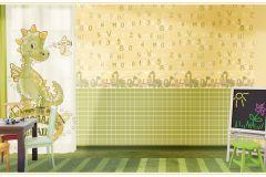 2242 cikkszámú tapéta.Csíkos,geometriai mintás,gyerek,különleges motívumos,retro,fehér,zöld,gyengén mosható,vlies tapéta