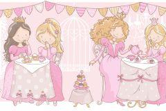 2264 cikkszámú tapéta.Emberek-sztárok,gyerek,rajzolt,arany,ezüst,fehér,pink-rózsaszín,gyengén mosható,vlies bordűr