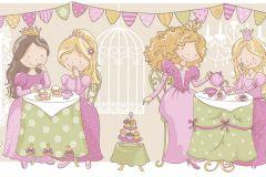 2265 cikkszámú tapéta.Emberek-sztárok,gyerek,rajzolt,arany,fehér,pink-rózsaszín,sárga,vajszínű,zöld,gyengén mosható,vlies bordűr