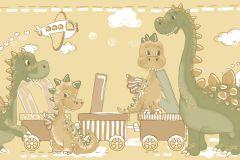 2275 cikkszámú tapéta.állatok,gyerek,különleges motívumos,rajzolt,barna,fehér,narancs-terrakotta,sárga,zöld,gyengén mosható,vlies bordűr