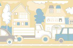 2277 cikkszámú tapéta.Gyerek,rajzolt,kék,sárga,gyengén mosható,vlies bordűr