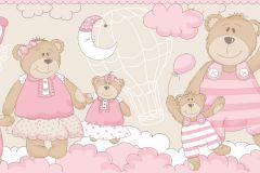 2284 cikkszámú tapéta.Gyerek,különleges motívumos,rajzolt,barna,fehér,pink-rózsaszín,gyengén mosható,vlies bordűr