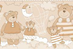2286 cikkszámú tapéta.Gyerek,különleges motívumos,rajzolt,barna,fehér,vajszínű,gyengén mosható,vlies bordűr