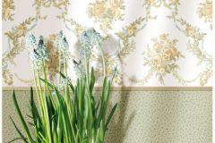 4100 cikkszámú tapéta.Barokk-klasszikus,virágmintás,barna,narancs-terrakotta,sárga,zöld,súrolható,vlies tapéta