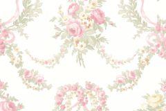 4101 cikkszámú tapéta.Barokk-klasszikus,virágmintás,pink-rózsaszín,sárga,zöld,súrolható,vlies tapéta