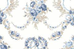 4102 cikkszámú tapéta.Barokk-klasszikus,virágmintás,barna,kék,súrolható,vlies tapéta