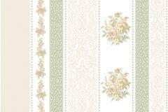 4103 cikkszámú tapéta.Barokk-klasszikus,csíkos,virágmintás,barna,bézs-drapp,zöld,súrolható,illesztés mentes,vlies tapéta