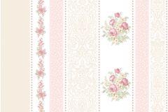 4104 cikkszámú tapéta.Barokk-klasszikus,csíkos,virágmintás,bézs-drapp,pink-rózsaszín,súrolható,illesztés mentes,vlies tapéta
