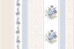 4105 cikkszámú tapéta.Barokk-klasszikus,csíkos,virágmintás,barna,bézs-drapp,kék,szürke,súrolható,illesztés mentes,vlies tapéta