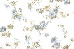 4110 cikkszámú tapéta.Barokk-klasszikus,virágmintás,bézs-drapp,fehér,kék,szürke,súrolható,vlies tapéta