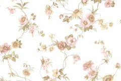 4111 cikkszámú tapéta.Barokk-klasszikus,virágmintás,barna,bézs-drapp,fehér,pink-rózsaszín,zöld,súrolható,vlies tapéta