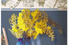 4116 cikkszámú tapéta.Barokk-klasszikus,virágmintás,fehér,kék,zöld,súrolható,vlies tapéta