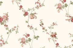 4118 cikkszámú tapéta.Barokk-klasszikus,virágmintás,fehér,pink-rózsaszín,piros-bordó,zöld,súrolható,vlies tapéta