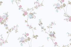 4119 cikkszámú tapéta.Barokk-klasszikus,virágmintás,fehér,kék,lila,zöld,súrolható,vlies tapéta