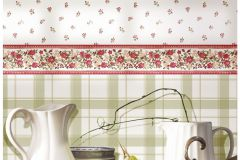 4122 cikkszámú tapéta.Barokk-klasszikus,virágmintás,fehér,pink-rózsaszín,piros-bordó,zöld,súrolható,vlies tapéta