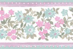 4180 cikkszámú tapéta.Barokk-klasszikus,virágmintás,barna,pink-rózsaszín,türkiz,zöld,súrolható,vlies bordűr