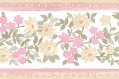 4181 cikkszámú tapéta.Barokk-klasszikus,virágmintás,narancs-terrakotta,pink-rózsaszín,sárga,zöld,súrolható,vlies bordűr