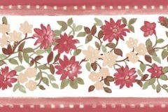 4182 cikkszámú tapéta.Barokk-klasszikus,virágmintás,bézs-drapp,piros-bordó,zöld,súrolható,vlies bordűr